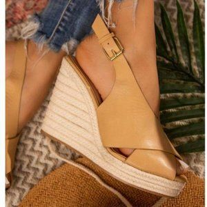 Shoes - Slingback Espadrille Wedges in Toffee